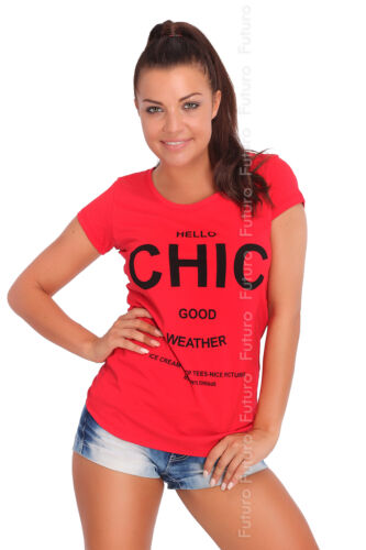 Casual T-Shirt Hello Chic Print Crew Neck Short Sleeve Top Sizes 8-14 FB153