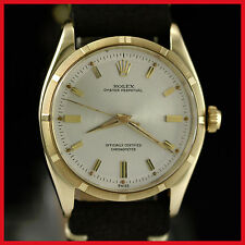 VINTAGE RARE ROLEX 6565 OYSTER PERPETUAL 14K SOLID YELLOW GOLD MENS WATCH