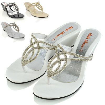 WOMENS WEDGE HEEL T BAR DIAMANTE SPARKLY LADIES TOE POST SANDALS SHOES SIZE 3 9 | eBay