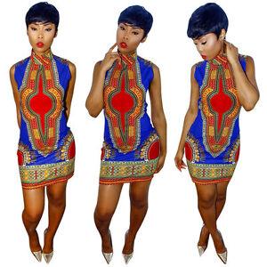 Womens-High-Collar-Traditional-African-Print-Dashiki-Bodycon-Party-Mini-Dress