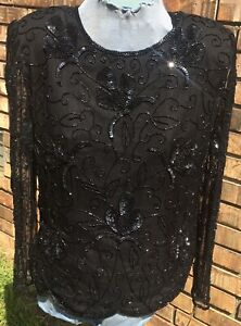 Vintage-STENAY-Black-100-Silk-Sequin-Beaded-Large-Evening-Formal-Cruise-Vegas