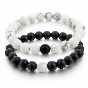 couples his hers distance bracelet agate bead matching. Black Bedroom Furniture Sets. Home Design Ideas