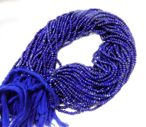 """FACETED GEMSTONE RONDELLE BEADS STRAND 3-4MM 13/"""" LONG NEW ARRIVAL"""