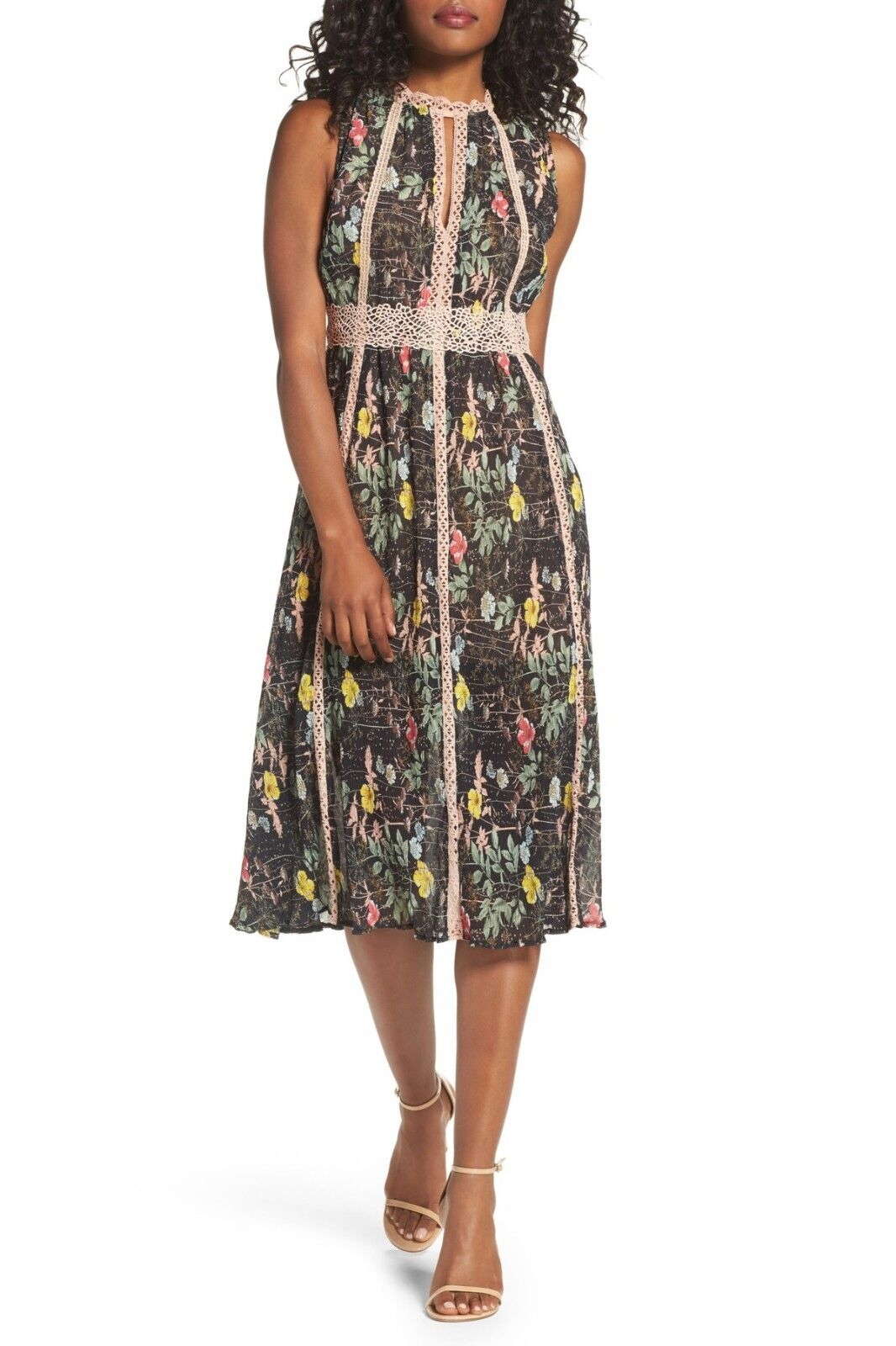 Foxiedox Kinsey Print Gauze Midi Dress ( ( ( Size M ) 72d6be