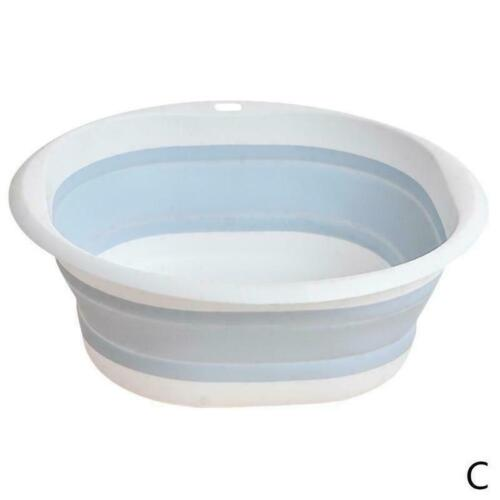Foldable Silicone Bucket Wash Basin Can Bathroom Kitchen Outdoor Camping D4V1