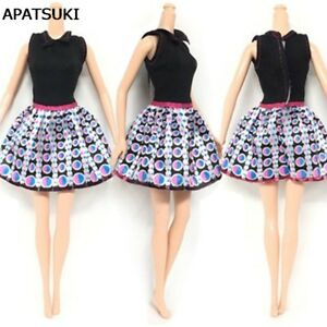 causal wear fashion clothes for barbie dolls black top dotted short