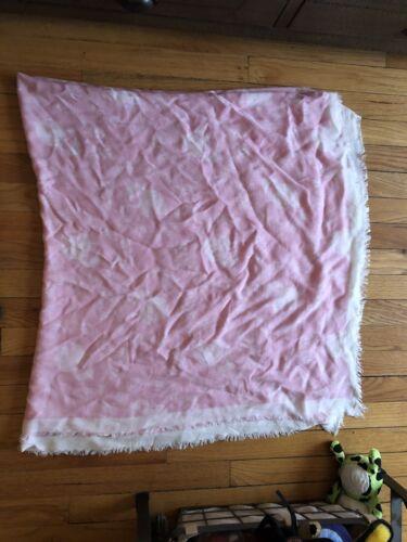 Karl Lagerfield Pink Wool Blend Logo Blanket Scarf