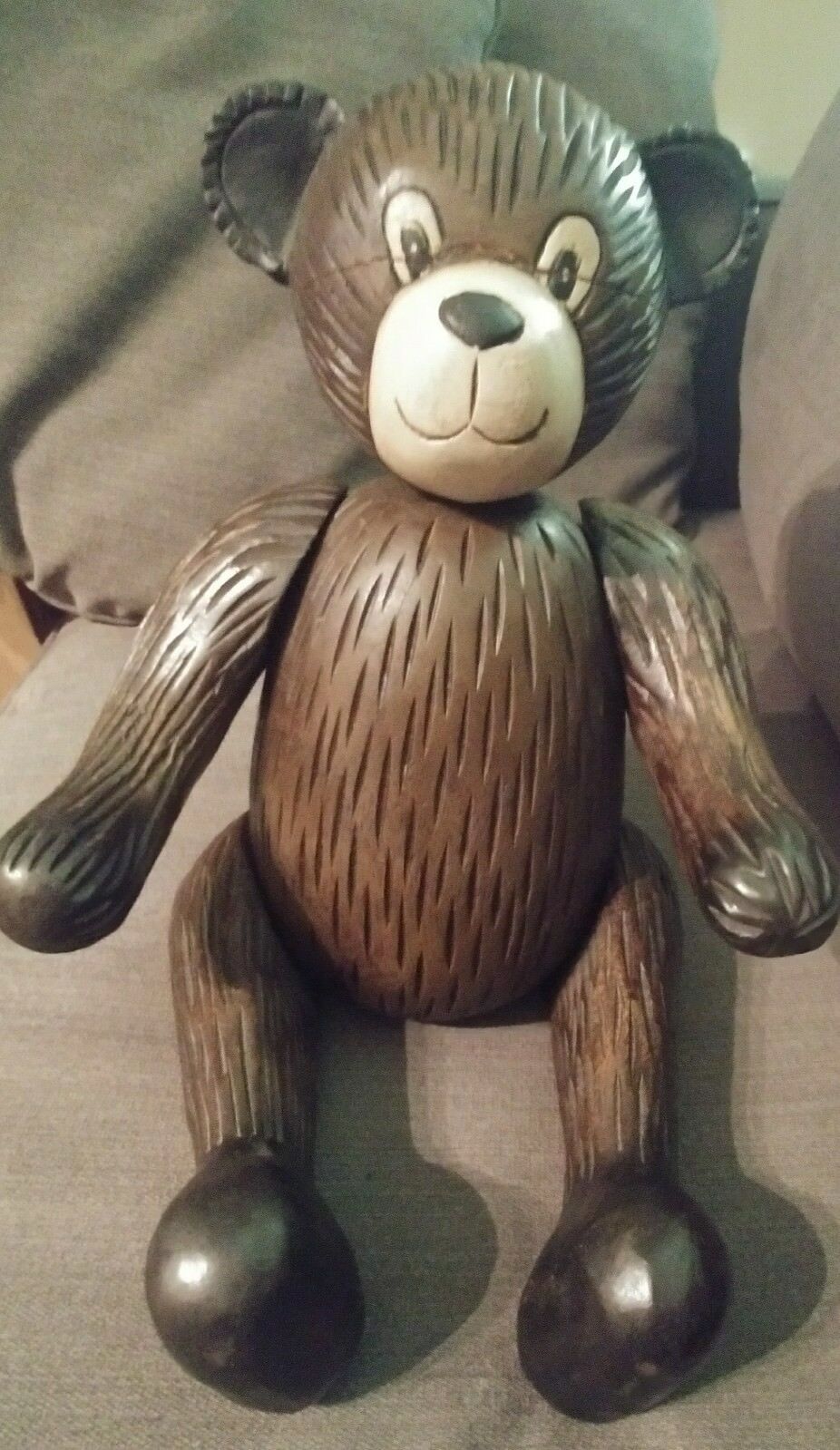 Antique Vintage Wooden Carved Teddy Bear w  Moveable Arms Legs & Head 17 Inches