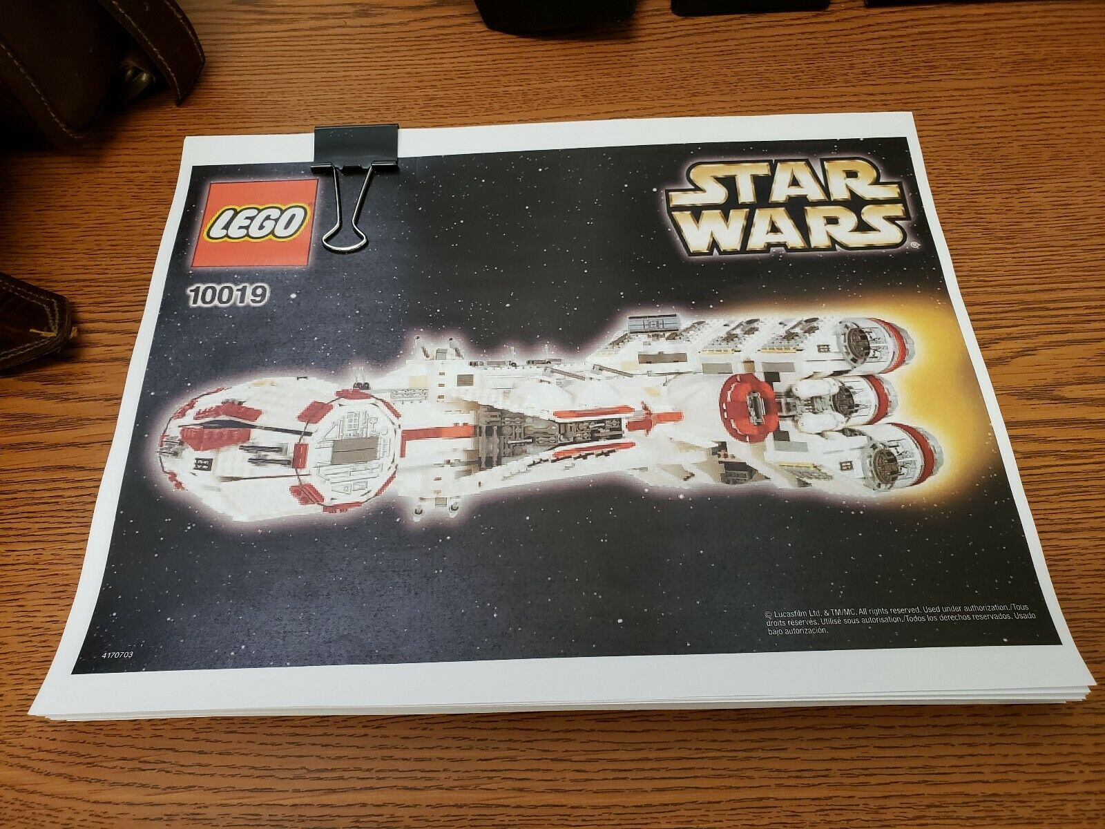 Lego 10019 Rebel corrojoor bloqueo tantiv IV Personalizado instrucciones de reemplazo