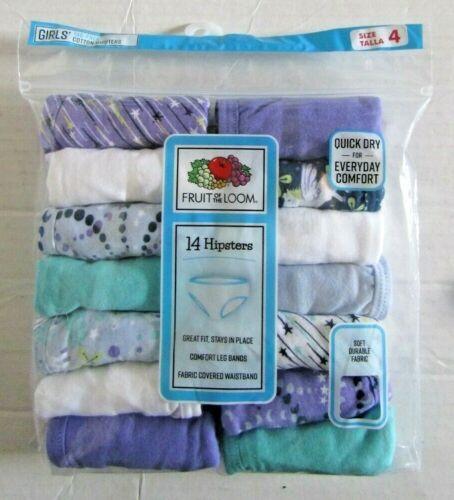 Fruit Of The Loom Girls Hipster Panties Underwear 14 Pair Pack Size 4