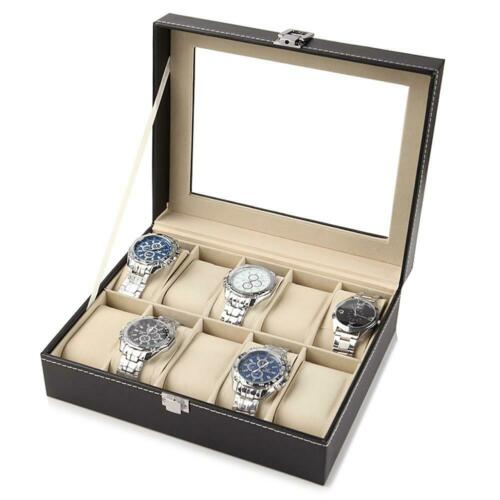 Uhrenbox Uhrenkoffer für 10Uhren Uhrenkasten Schaukasten Uhrenschatulle Case Box