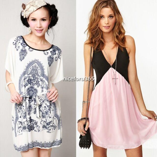 Summer Sexy bohemian Casual Dress Women's Ice Silk Chiffon Backless Skirt N4U8
