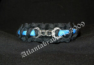 Thin Blue Line Police With Handcuffs Paracord Survival Bracelet New