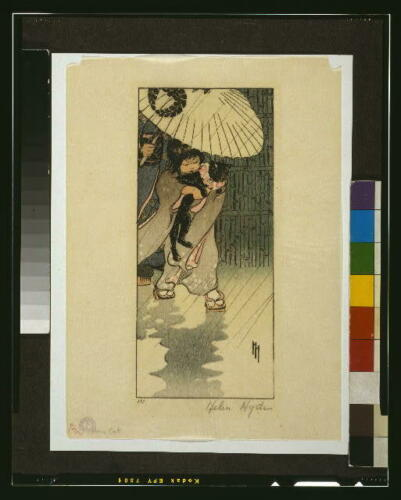 Cat,Japan,Girl,Japanese,1903,Helen Hyde,Rain,Umbrella,Walking Honorable Mr