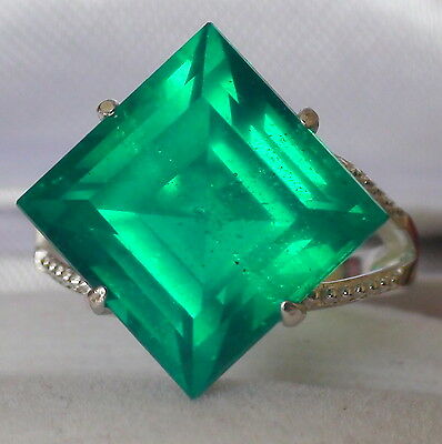 NATURAL  DOUBLET EMERALD 12.00 CT RING,925 STERLING SILVER,SIZE 5.75