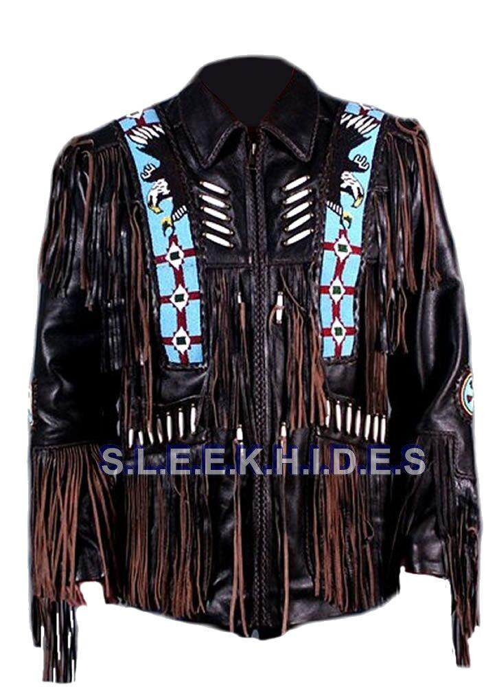Sleekhides Men's Western Cow Leather Coat Fringed & Eagle Bead Work All Sizes