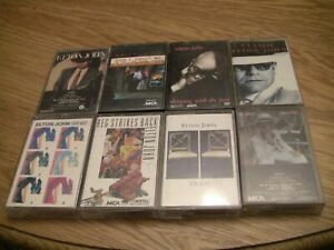 Elton-John-8-Cassette-Lot-Greatest-Hits-Vol-1-and-2-Duets-Leather-Jackets