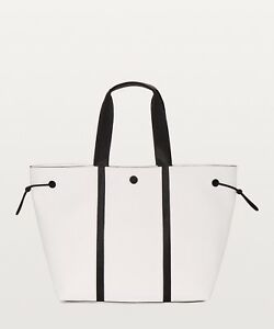 5ca97a32bac NWT LULULEMON DAY OUT TOTE~16L LARGE~WHITE BLACK ~FREE USPS PRIORITY ...