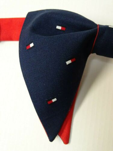 Handmade Mens All over flag logo Bow Tie Vintage Style Americana Navy//Red//White