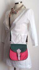 "Leather Patchwork Satchel Style Shoulder Bag.  Green & Pink.  7.5"" x 7"" x 3"""