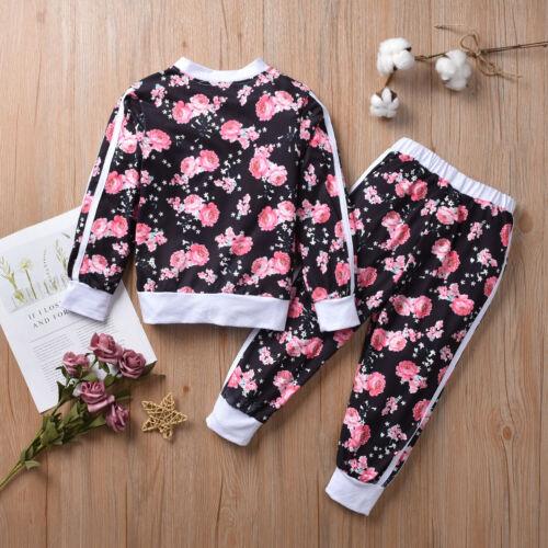 ✅Mädchen Blumen Hausanzug Langarm Sweater Jacke Hose Set Jogginganzug Sportanzug