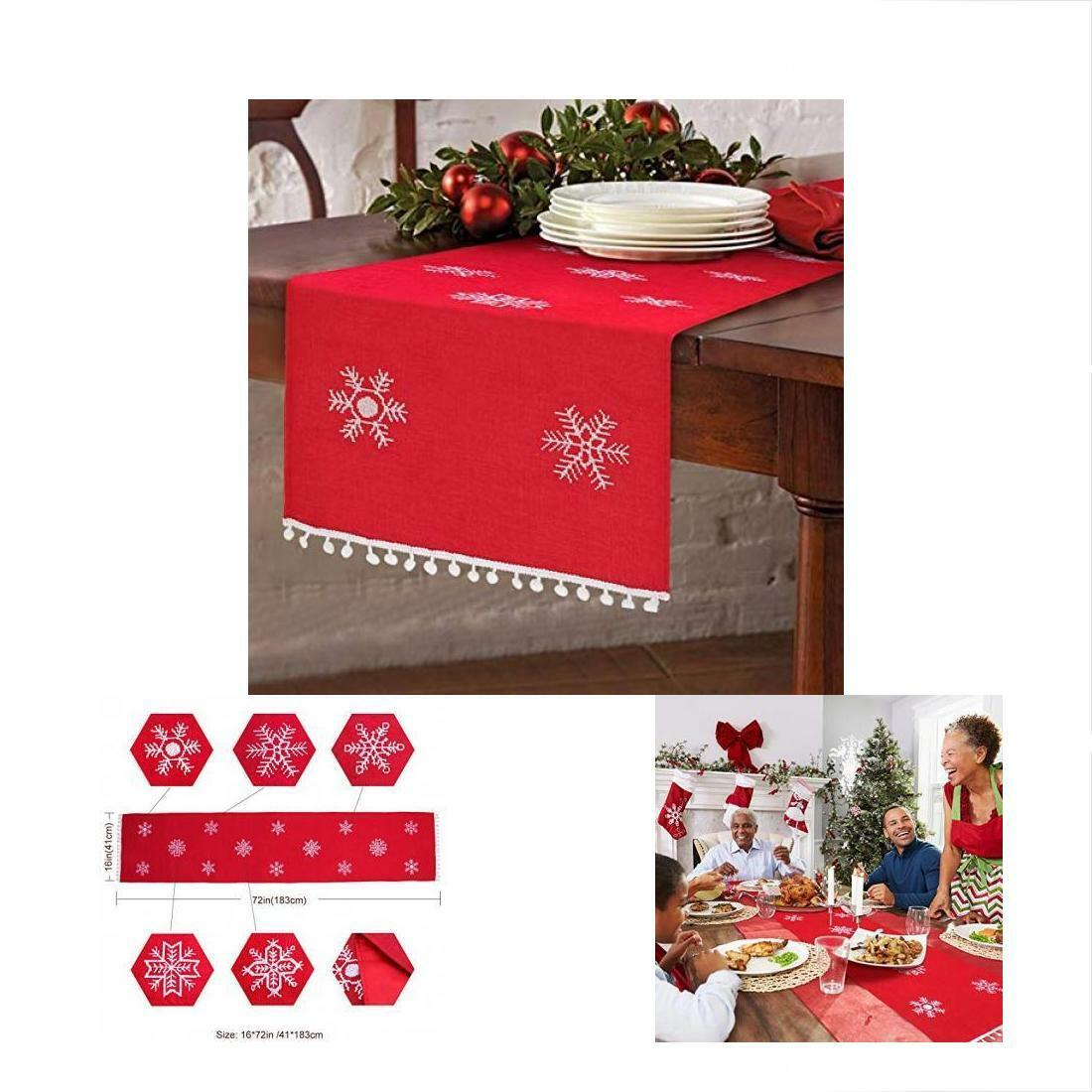 Christmas Embroidered Table Runner Red Snowflakes Linens Decorations 16 X 72