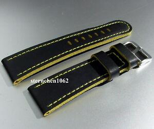 Eulit-Lederband-fuer-Uhren-Uhrenarmband-Olymp-schwarz-gelb-20-26-mm