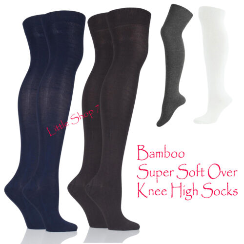 2 Pairs Ladies Girls Plain Bamboo OverKnee High with Comfort Cuff Socks All Size