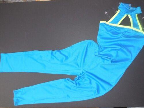 NWT Mock turtleneck capri unitard turquoise blue w// lime child clear adjustable
