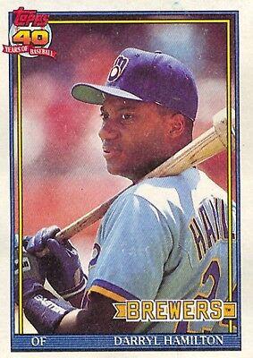 1991 Topps 781 Darryl Hamilton Milwaukee Brewers Baseball Card Ebay