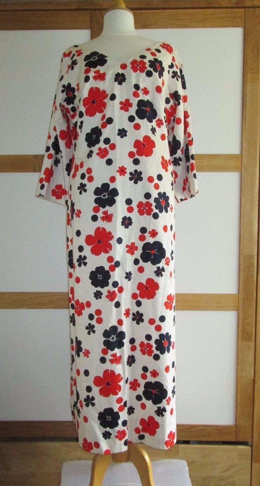 Ladies ORIGINAL VINTAGE 1970's FLORAL COTTON MAXI SUMMER DRESS UK SIZE 18