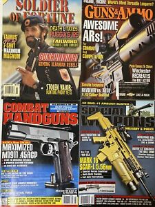 4-Combat-Handguns-Weaponry-Magazines-Lot-Soldier-of-Fortune-1998-Early-2000s