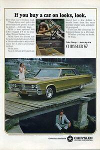Details about 1967 Chrysler PRINT AD Green Yellow New Yorker 4 door 440 TNT  Man under bridge