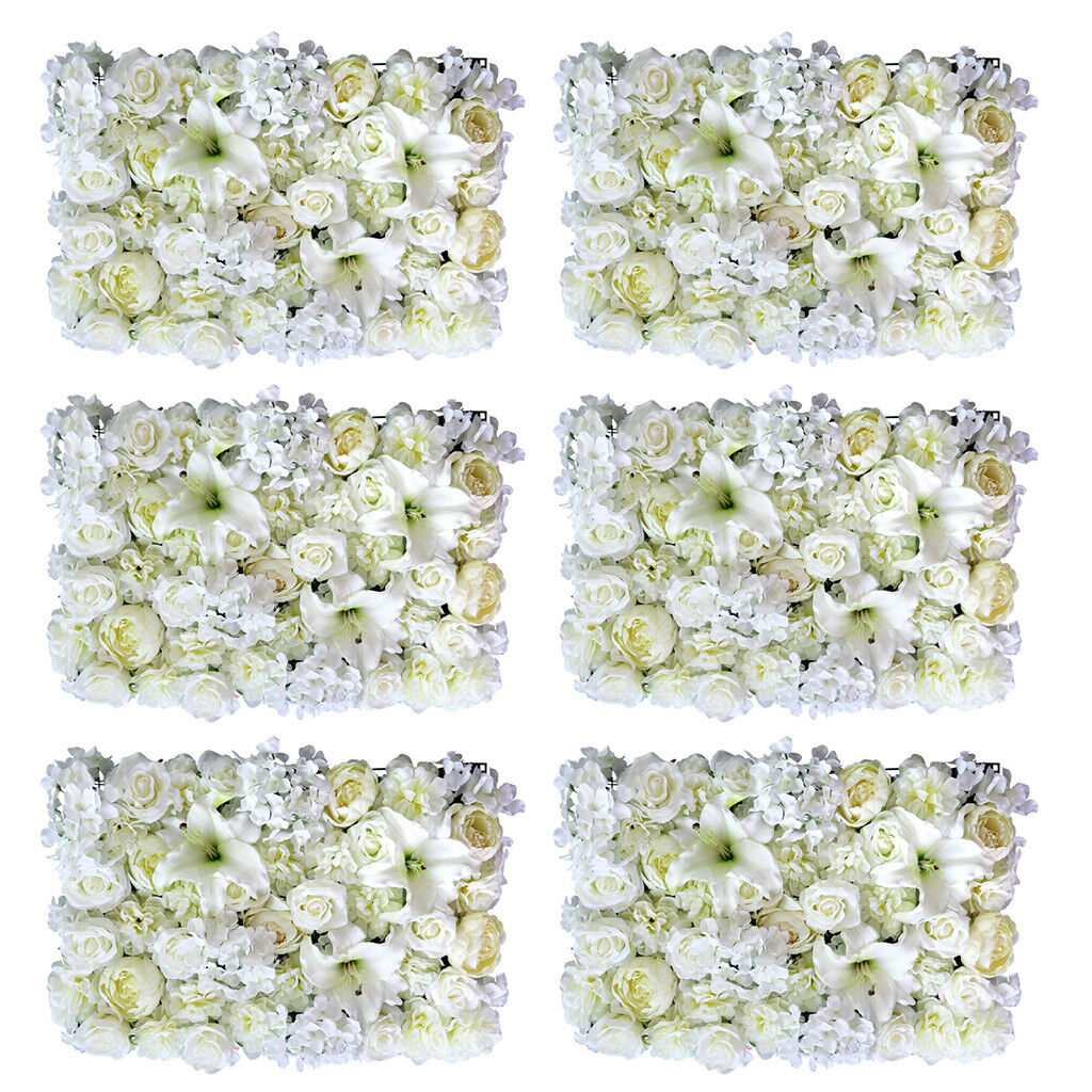 6pcs Artificielle Soie Rose Lily Flower Wall Panel mariage coulisses decor