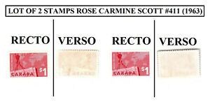 Lot of 2 stamps CANADA Scott #411 $1 dollar VF MNG Rose Carmine Exports 1963
