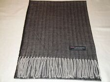 100% Cashmere Scarf Soft 72X12 Black Grey Tweed Herringbone Scotland Plaid Men