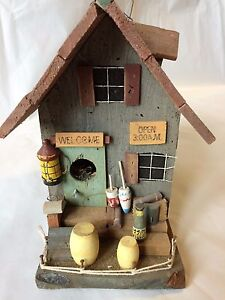 The Best Vintage Wooden-bait-shop-bird-house 8'' Tall 9'' Wide Sides 4 1/2 '' Wide Front Easy And Simple To Handle Decorative Arts Antiques
