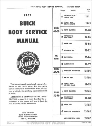 1957 Buick Body Repair Shop Manual 57 Special Century Super Roadmaster