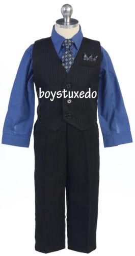 Boy/'s Black 4 Pc Formal Pin Stripe Suit Vest Set Royal Blue Dress Shirt All Size