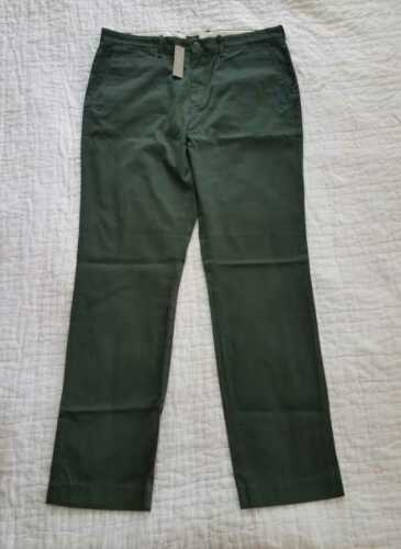 NEW MEN/'S 34x32 35x32 J CREW 770 STRAIGHT FIT PANT IN STRETCH CHINO PINE GREEN
