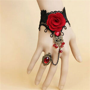 New-Elegant-Gothic-Style-Lace-Red-Rose-Bracelet-with-Adjustable-Finger-Ring-FO