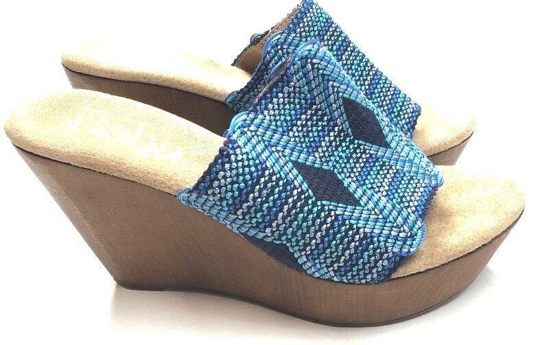 Reba para mujer mujer mujer 38 7.5 Azul De madera Boho 70s Look Cuñas Tacones Sandalias Wow ROP  solo para ti