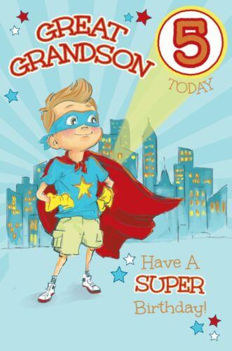 Arrière-petit-fils 5th CARTE D/'ANNIVERSAIRE ~ 5 ans super-héros de la qualité de la conception carte