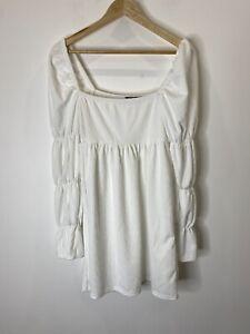 Nasty Gal White Long Sleeve Babydoll Dress Size 12 EUC