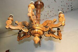 XL-6lights-AUTHENTIC-antique-vintage-French-wood-carved-chandelier-Castle-L94