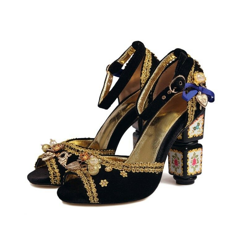Womens Peep Toe Block Heels Floral Rhinestone Leather Alluring Lady Party Shoes