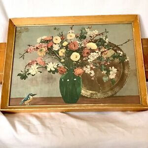 Vintage Serving Tray with Wood Handles &  Frame ~ Glass On Picture