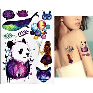 Temporaeres-Tattoo-Katze-Panda-Wal-Planet-space-Design-Klebetattoo-Koerperkunt