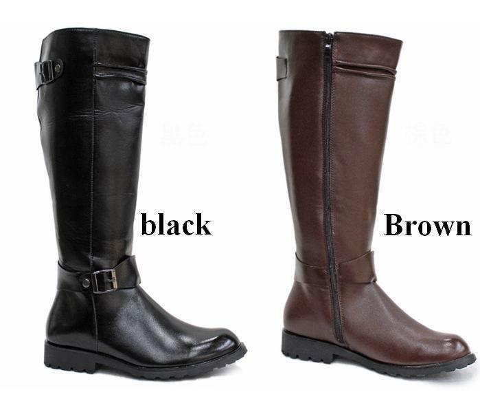 Riding Boots Mens Military Boots Leather Knee High Equestrian Ridding Boots G132