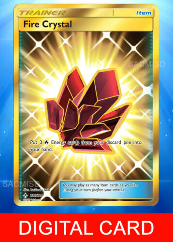 SENT FAST Fire Crystal 231//214 Secret Rare UNB Digital Card Pokemon TCG Online